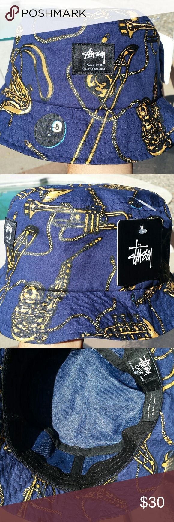 Stussy bucket hat Blue bucket hat with brass graphics Stussy Accessories Hats