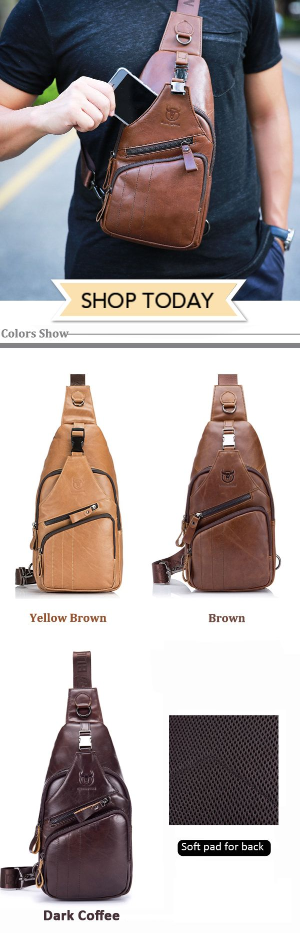 Leather Casual Chest Bag/Single-shoulder Crossbody Bag #mensfashion #outfit #fashion