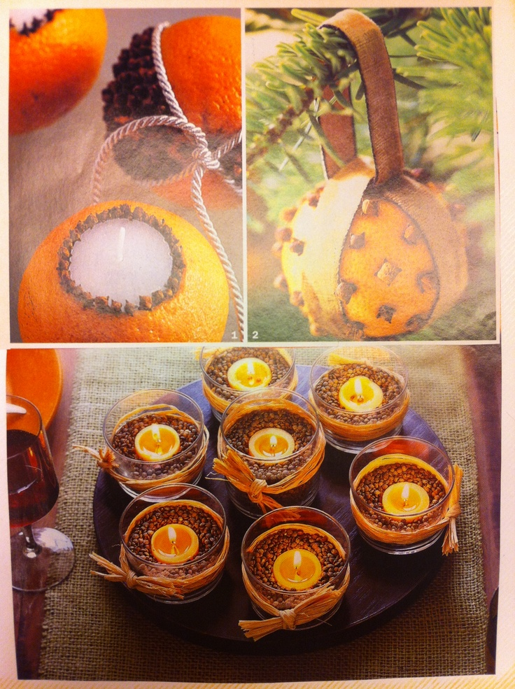 Oranges and cloves, coffee bean candles...