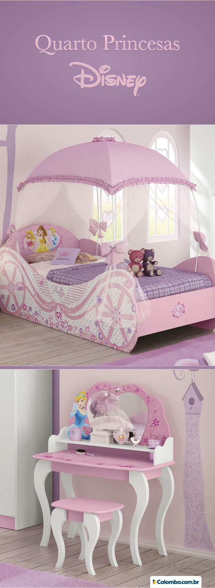 Que tal um quarto das Princesas da Disney para elas? Cama, penteadeira e outros móveis você encontra na Lojas Colombo: http://busca.colombo.com.br/search#w=pura%20magia?utm_source=Pinterest&utm_medium=Post&utm_content=pura-magia&utm_campaign=Produto-23abr14