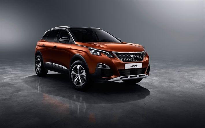 Download imagens Peugeot 3008, 4k, 2018 carros, cruzamentos, brown 3008, francês carros, Peugeot