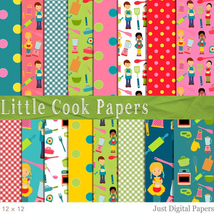 Little Cook Papers, Cooking Papers, Baking papers, Food papers, Digital Paper, Scrapbook Paper,  Instant Download, Kitchen Papers by JustDigitalPapers on Etsy