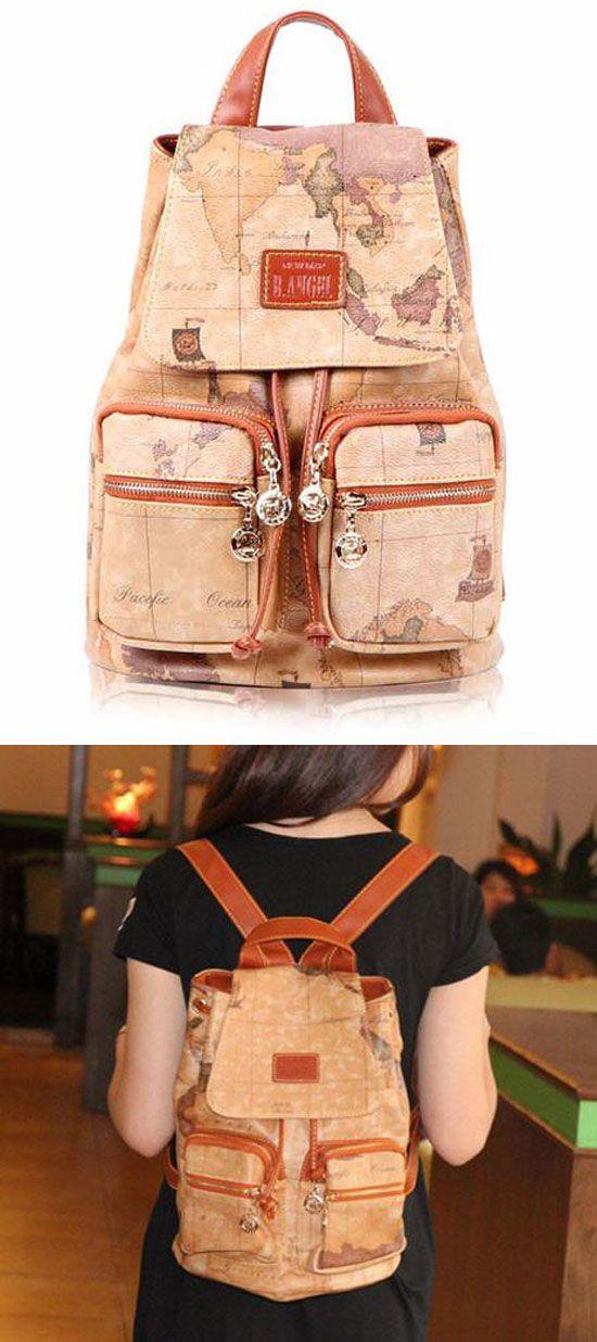 Unique World Map Printing Bucket-shaped Travel Backpack for big sale ! #backpack #world #map #unique #bag #rucksack