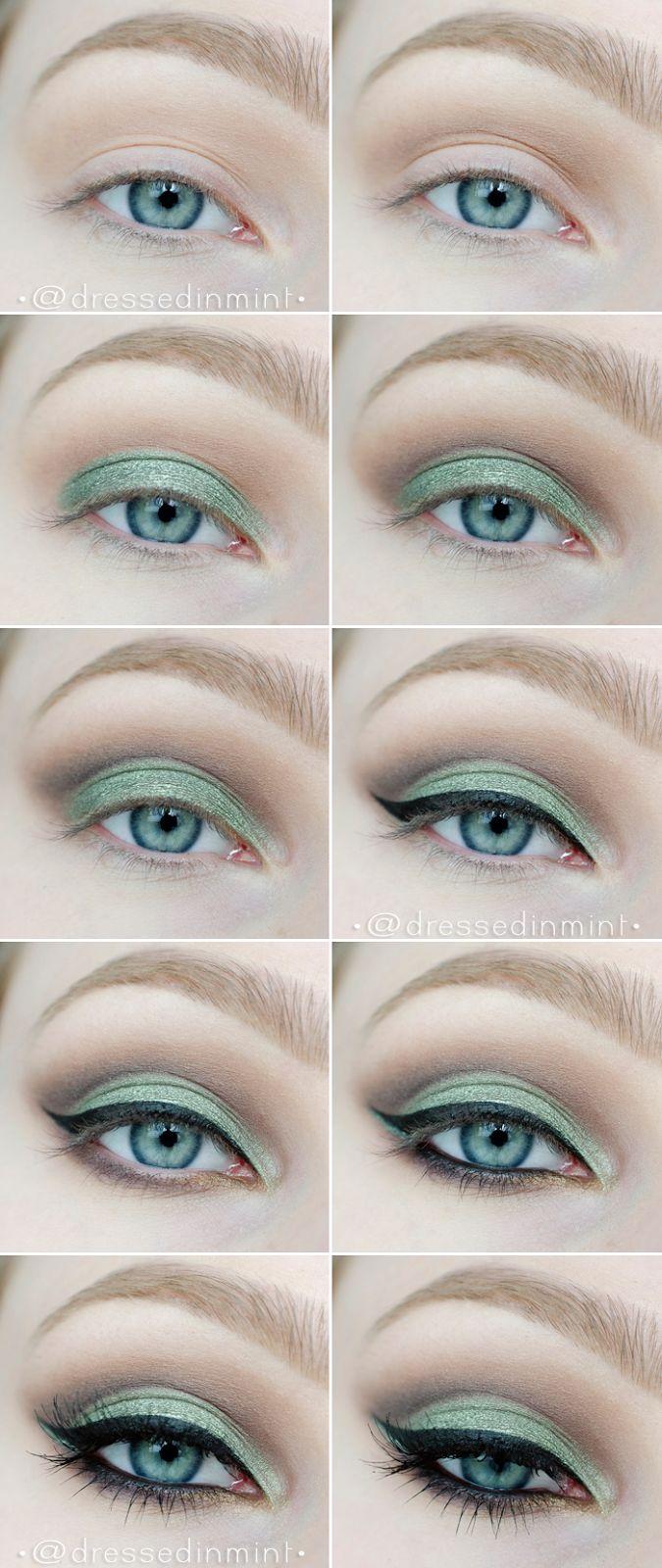 White dress eye makeup - Make Up Green Cut Crease Step By Step