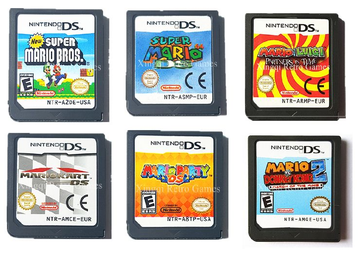 Mario NDS Reproduction Carts. New Super Mario Bros. Super mario 64 ds, Mario and Luigi Partners in time, Mario Kart DS, Mario Party DS, Mario vs Donkey Kong 2.