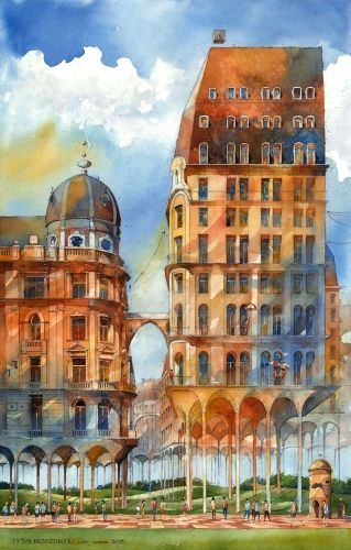Powisle district in Warsaw, Poland by Tytus Brzozowski. Tytus is a great architect and wonderful, very talented artist. Lumarte offers fine art prints in limited editions from artist's watercolors. Only 40 works printed on beautiful 100% cotton archival paper!:) more works: http://www.lumarte.eu/en/tytus-brzozowski-a136 www.facebook.com/galerialumarte