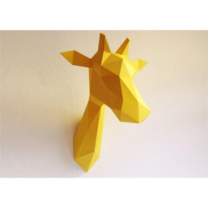 Tête de Girafe Jaune Kit Origami Décoration - Achat / Vente statue - statuette - Cdiscount