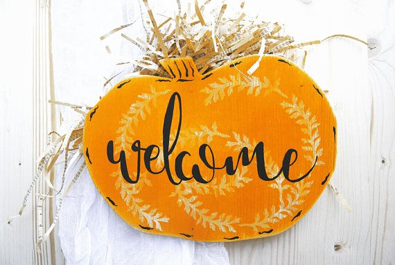 Wood Pumpkin Welcome sign Pumpkin door hanger Harvest