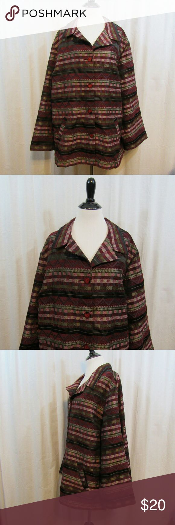 """Sag Harbor Burgundy Gray Light Jacket 22W Brand: Sag Harbor Size: 22W Material: 80% Polyester 20% Rayon  Care Instructions: Machine Wash  Bust: 54"""" Sleeves: 23 1/2"""" Length: 28""""  All clothes are in excellent used condition. No tears, stains or holes unless otherwise I noted.   P9 Sag Harbor Jackets & Coats"""