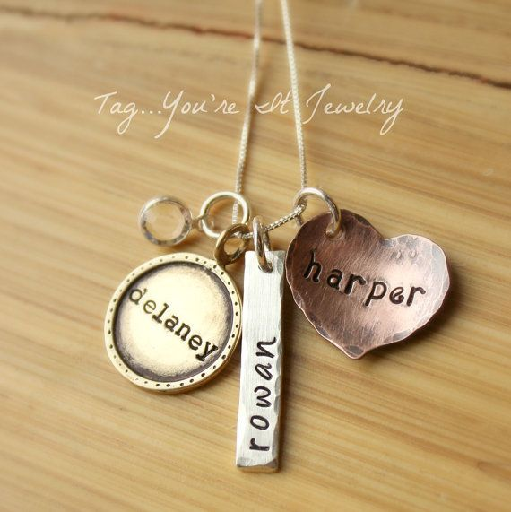Mommy Necklace Hand Stamped Mixed Metals Sterling Silver Copper Brass Framed Bar and Heart Tag with childrens names. $57.00, via Etsy.