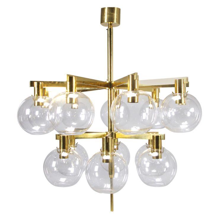 Very Elegant Brass & Glass 15-Light Hans-Agne Jakobsson Chandelier via Joakim Von Ditmar.