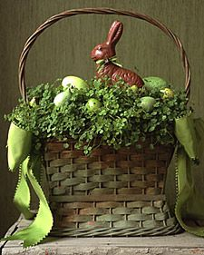 Clover and Eggs Basket: Easter Parties, Easter Centerpieces, Easter Bunnies, Easter Decor, Easter Eggs, Martha Stewart, Easter Baskets, Chocolates Bunnies, Easter Ideas