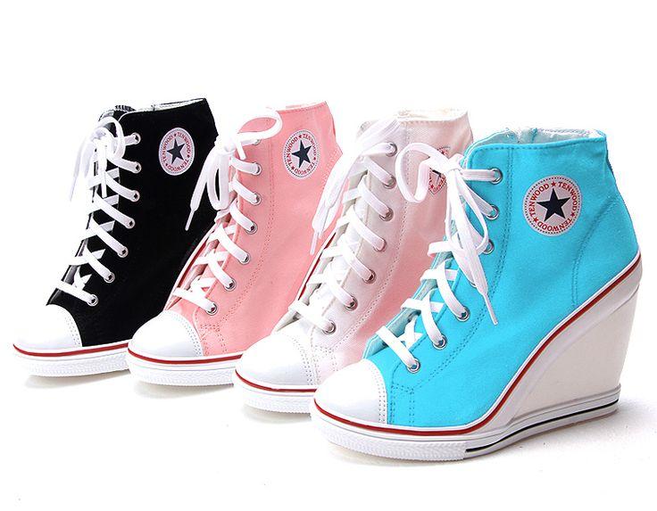 Converse heels - Womens White Sneakers Zip Wedge Heel Shoes US 5 8 Lady Platform Ankle Boots   eBay