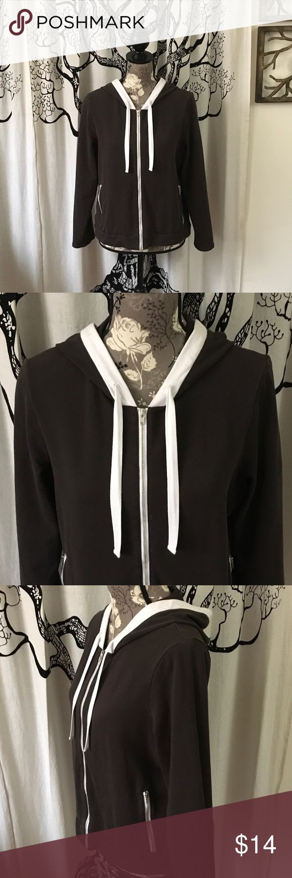 """NWOT Ann Taylor Loft Full Zip Hoodie SZ XLP Super soft and stretchy hoodie from LOFT in dark brown with white trim. Full front zip plus zippered pockets. Drawstring hood. Perfect retail condition - never worn. 20"""" bust, 19"""" waist, 20"""" across the hem, and 22"""" length. This would work for non-petite women if you like your hoodies shorter. Super cute hoodie! LOFT Tops Sweatshirts & Hoodies"""