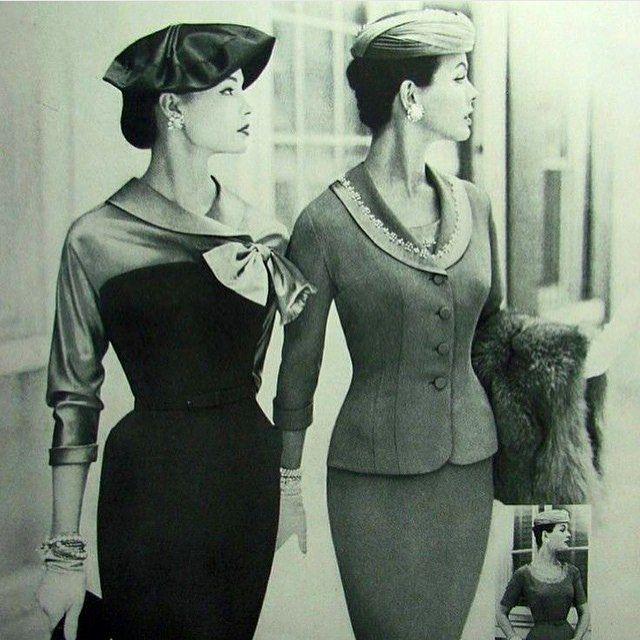 50'ler ve 60'lar giyimde en sevdigim donemler. Gorseldeki kiyafetler 50'lerden. Nasıl zarif, nasıl feminen 👌🏻👌🏻 #1950s #suit #fashion #history