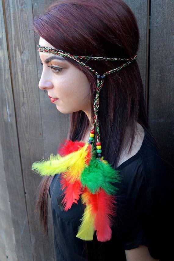 Rasta Feather Headband - Hippie Headband from VividBloom on Etsy