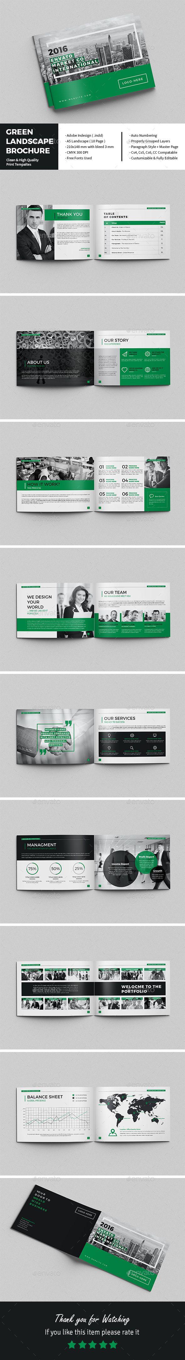 Green Landscape Brochure Template InDesign INDD. Download here: https://graphicriver.net/item/green-landscape-brochure/17205438?ref=ksioks