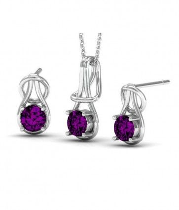 Rhodium Plated Amethyst Color Fashion Pendant & Earrings Set made with Swarovski Crystals (GS021AM). #Glimmering #SwarovskiNecklaces #SwarovskiPendantSets #FashionNecklaces #DesignerPendantSet #NecklaceSwarovskiCrystals #CrystalPendant #SwarovskiJewelrySet