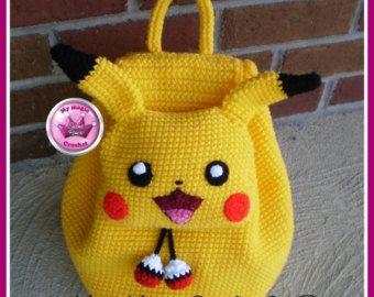 Mochila   infantil   amigurumi   croche   Pikachu   Pokemon  