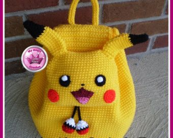 Mochila | infantil | amigurumi | croche | Pikachu | Pokemon |