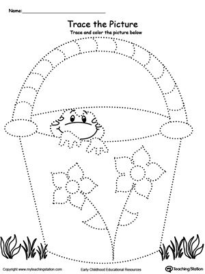 *FREE* Trace and Color the Picture: Bucket with Frog. Help your child develop their pre-writing and fine motor skills with this printable worksheet.
