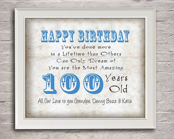 100 Years Old Birthday Gift For Grandpa By