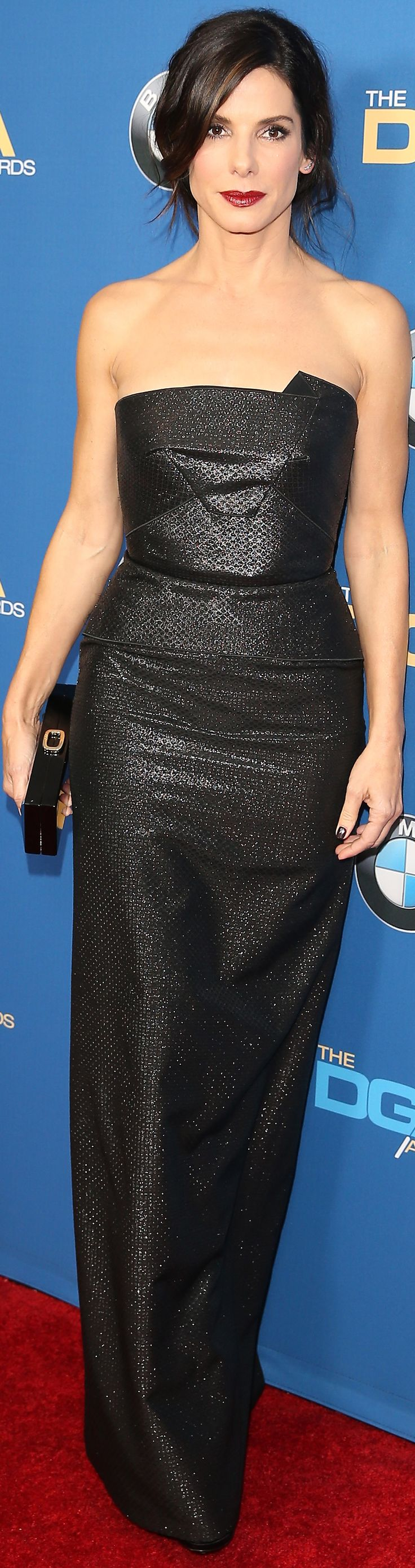 Sandra Bullock wore a black Roland Mouret dress to the 2014 Directors Guild Awards.