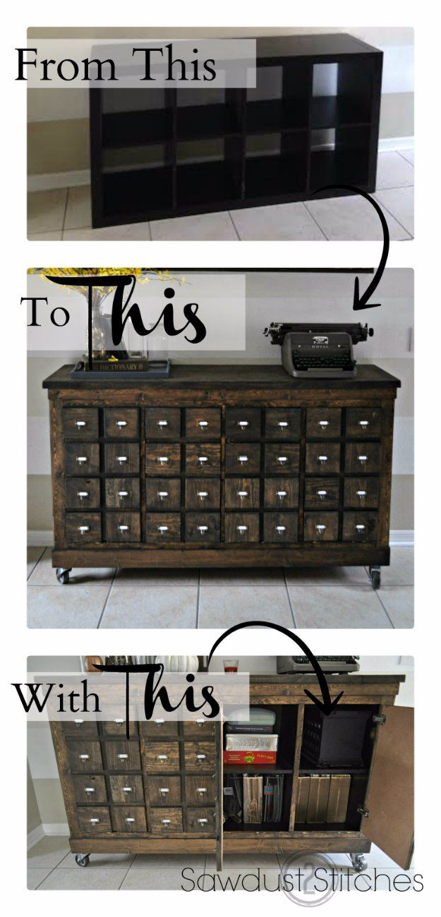 IKEA Hacks and DIY Hack Ideas for Furniture Projects  and Home Decor from IKEA -  IKEA Cubbies into a Rustic Apothecary Hack - Creative IKEA Hack Tutorials for DIY Platform Bed, Desk, Vanity, Dresser, Coffee Table, Storage and Kitchen Decor http://diyjoy.com/diy-ikea-hacks