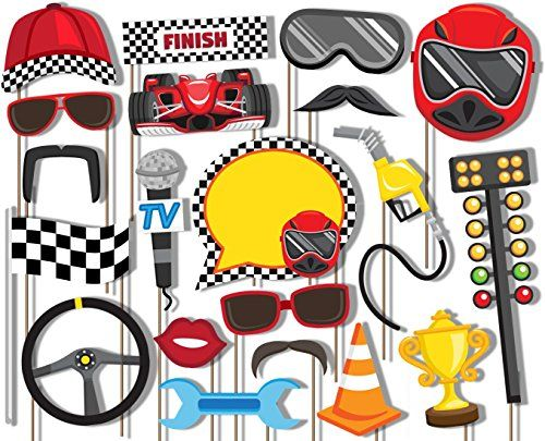How fun! Use these to create your own photo booth!     Race Car Racing Photo Booth Props Kit - 20 Pack Party Cam...