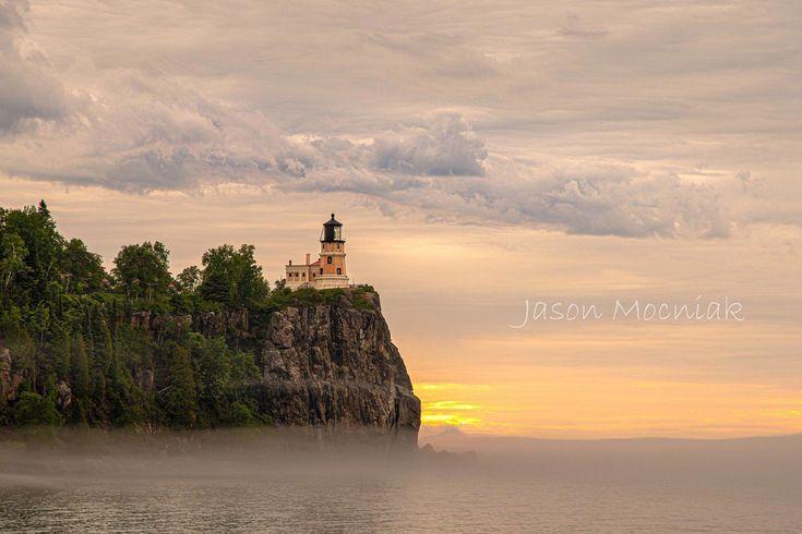 Split Rock Lighthouse Print Metal Art Morning Fog Great Lakes Photography In 2020 Lake Photography Split Rock Lighthouse Photography