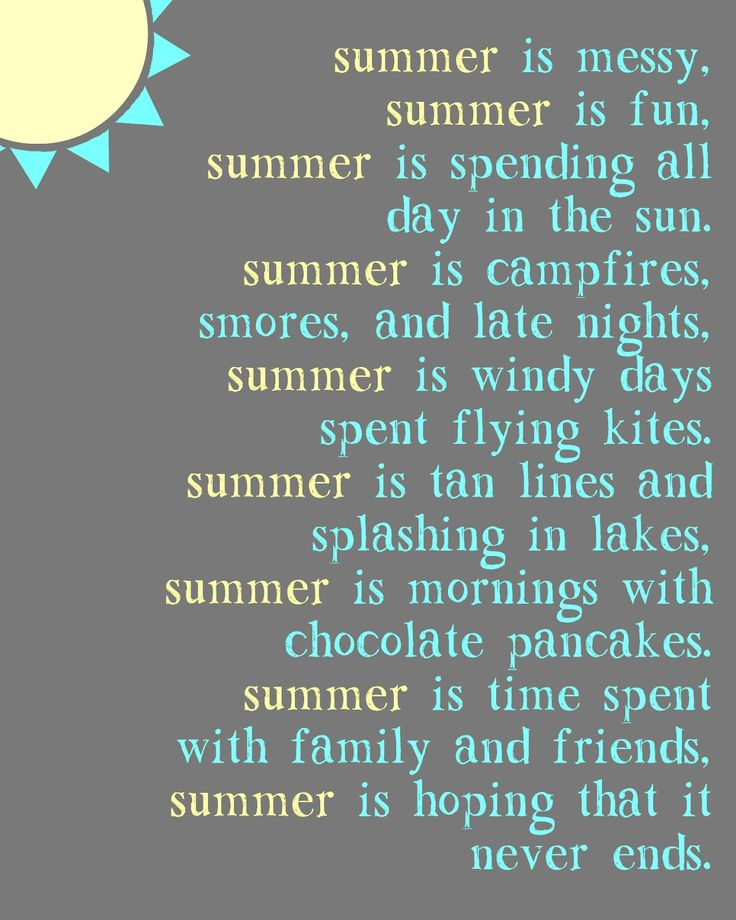 "Just a Touch of Crazy: ""Summer Is"" Poem Printable"