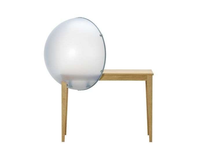 Sphere Table Sky & Sphere Table Sun Year: 2013 Material: dark oak and milky light blue / yellow polyester (semi-transparent)