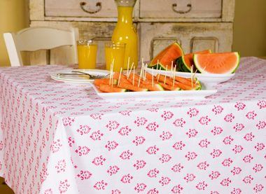 Pink Linen Tablecloth   Hand Block Printed From Attiser