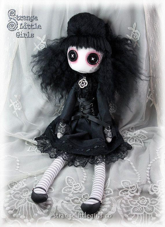 Gothic cloth art doll with button eyes by StrangeLittleGirlsUK