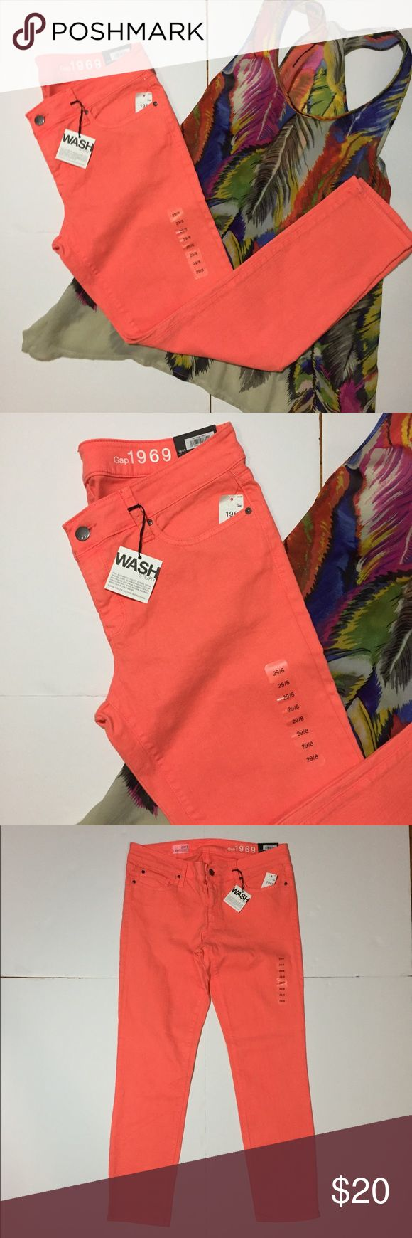 "NEW! Gap 1969 Bright Orange Skinny Jeans NWTs! New With Tags! Gap 1969 Bright Orange Skinny Jeans. Size 29, which is the same as an 8, measures flat: 16"" across top, 8"" rise, 27"" inseam. Low rise stretch per the tags. Original $70. 530/100/060917 GAP Jeans Skinny"
