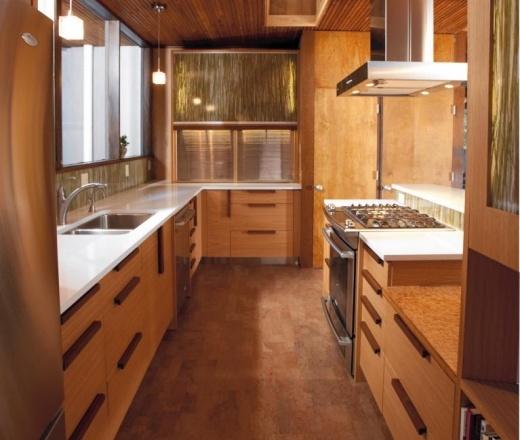 Cork Flooring; Contemporary Galley Style Kitchen, Maple