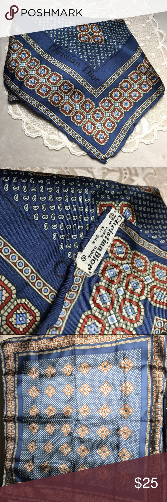 """Christian Dior Silk Pocket Square/handkerchief Gorgeous 100% silk Christian Dior pocket square/handkerchief. Vintage. Lovely blue geometric and paisley pattern. Measures 18.5"""" x 18.5"""". Excellent condition. Christian Dior Accessories Pocket Squares"""