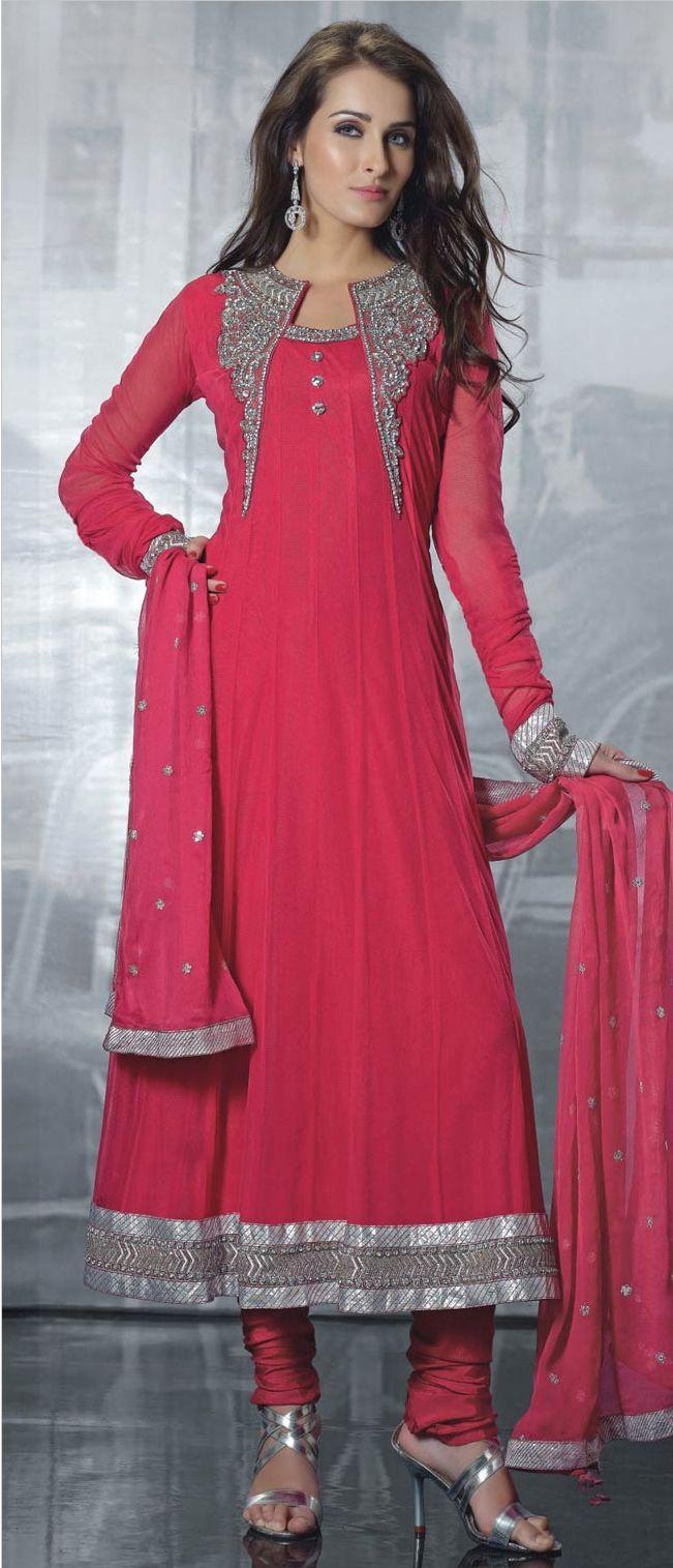 #Pink #Net Anarkali Churidar #Kameez @ $154.36