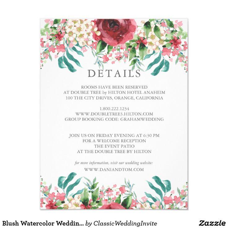 Blush Watercolor Wedding Information Card