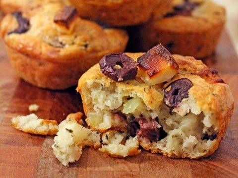 Olive and Haloumi muffins