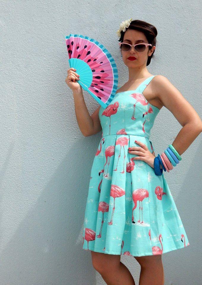 Custom made flamingos print dress