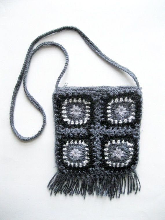 Purse Shoulder Bag Crochet Fringed Bag by mailordervintage on Etsy