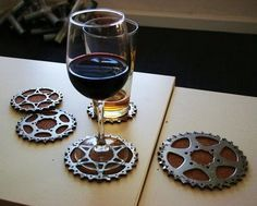 Bicycle parts used for coasters  (using cork or felt on bottom of course!) - 8 Ways to Use Recycled Bicycles in Your Home