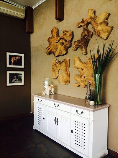 Teak erosion artwork wall feature in lounge Teak art - Weylandts @Nicky Day.net