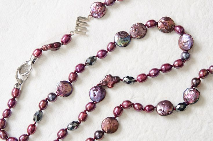 Burgundy Pearl Necklace