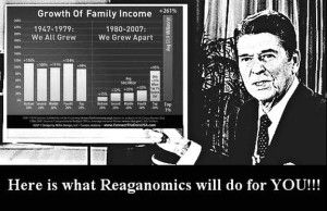 Ronnie was the start of the death of the middle class!  Who the Hell is Still Buying Into the Scam of Trickle-Down Economics?