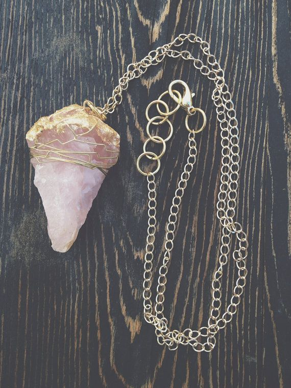Rose Quartz Crystal Jewelry by GaudyintheRaw