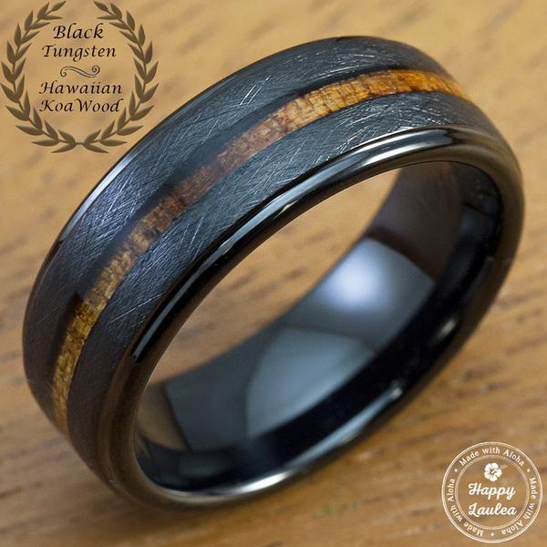 Black Tungsten Carbide Cross Brush Finish Ring with Hawaiian Koa Wood Inlay - 8mm, Flat Shape, Comfort Fitment