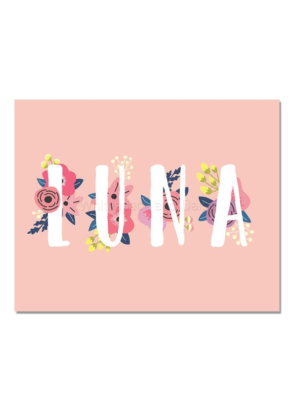 Luna Baby Name Wall Art Luna Baby Name Sign Luna Party