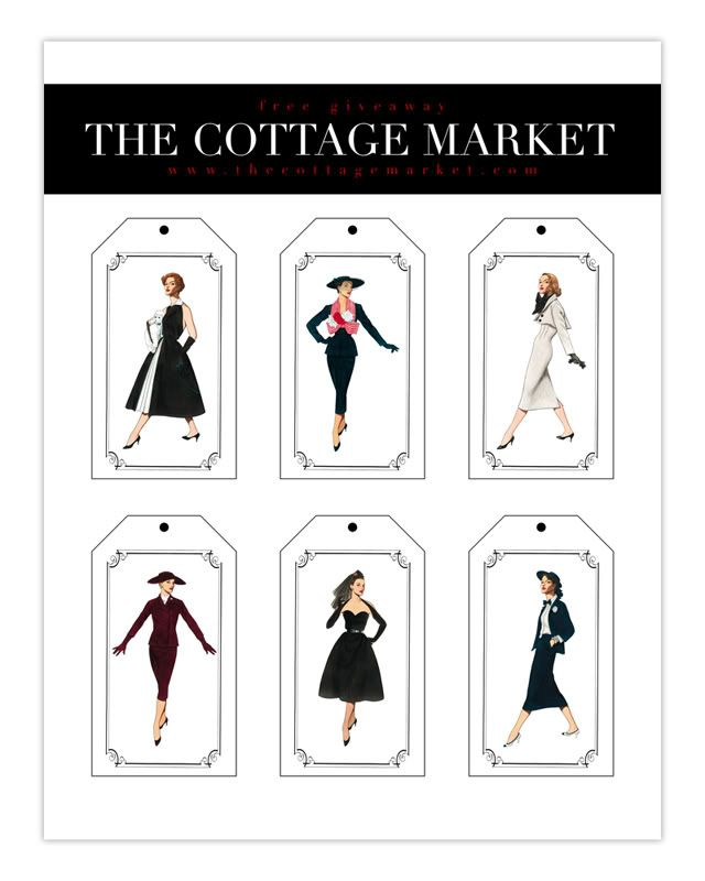 Free Printable Fashion Tags 50's Fashionista's - The Cottage Market